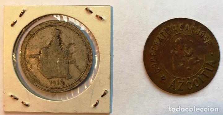 Monedas locales: 2 fichas de cooperativa co y san jose. azcoitia, guipúzcoa. 5 y 100 pesetas - Foto 2 - 202705991