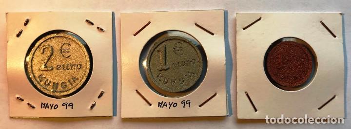 2 FICHAS PRUEBA DEL EURO MUNGUÍA, VIZCAYA. 2, 1 € Y 1 CT (Numismática - España Modernas y Contemporáneas - Locales y Fichas Dinerarias y Comerciales)