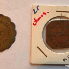 Monedas locales: 2 FICHAS COOPERATIVA DE TRABAJADORES VASCOS, MATIKO, VIZCAYA. 1 PTS Y 25 CTS. NACIONALISMO. Lote 202709150