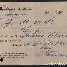 Monedas locales: ABARAN-MURCIA- AYUNTAMIENTO-VALE POR 119 ARROBAS .. 16 DEL 12-1937.- VER FOTO. Lote 203292942