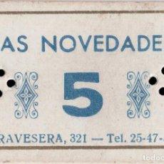 Monedas locales: VALE DE DEUDA DE LA MERCERÍA LAS NOVEDADES - BARCELONA - 5 PTS. Lote 203445557