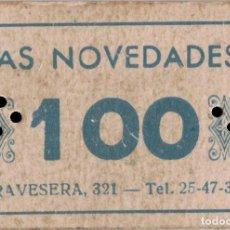 Monedas locales: VALE DE DEUDA DE LA MERCERÍA LAS NOVEDADES - BARCELONA - 100 PTS. Lote 203445647