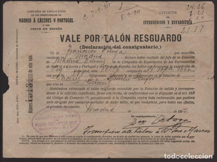 MADRID, VALE POR TALON RESGUARDO- CIA. EXPLT. FERROCARRILES MADRID A CACERES Y PORTUGAL- AÑO 1913 1 (Numismática - España Modernas y Contemporáneas - Locales y Fichas Dinerarias y Comerciales)