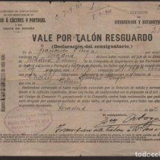 Monedas locales: MADRID, VALE POR TALON RESGUARDO- CIA. EXPLT. FERROCARRILES MADRID A CACERES Y PORTUGAL- AÑO 1913 1. Lote 203585680