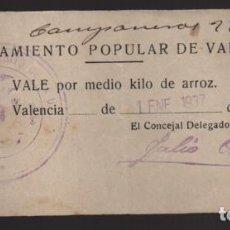 Monedas locales: VALENCIA,- AYUNTAMIENTO POPULAR- VALE POR MEDIO KILO DE ARROZ.- ENERO 1937. VER FOTO. Lote 203585896