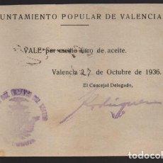 Monedas locales: VALENCIA,- AYUNTAMIENTO POPULAR- VALE POR MEDIO LITRO ACEITE.- ENERO 1936. VER FOTO. Lote 203586165