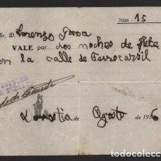 Monedas locales: DONOSTIA.-FRENTE POPULAR- VALE POR DOS NOCHES FLETE CALLE FERROCARRIL- AGOSTO 1936. VER FOTO. Lote 203586430