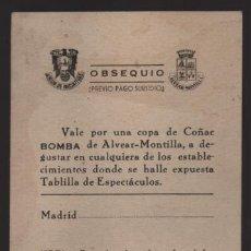 Monedas locales: MADRID.- VALE UNA COPA COÑAC -BOMBA- DE ALVEAR--MONTILLA- PREVIO PAGO SUBSIDIO- VER FOTOS. Lote 203855875