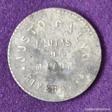 Monedas locales: FICHA JUSTO CALVO, FRUTAS POR MAYOR, BILBAO. RIVERA 16. 5 PESETAS. RARA. AÑOS 30. MONEDA.JETON.. Lote 203894748
