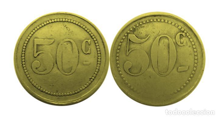 FICHA NECESIDAD VALOR 50 C (Numismática - España Modernas y Contemporáneas - Locales y Fichas Dinerarias y Comerciales)