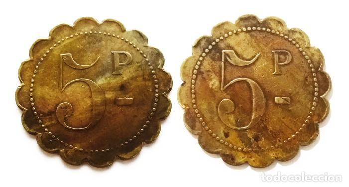 FICHA DE NECESIDAD VALOR DE 5 P (Numismática - España Modernas y Contemporáneas - Locales y Fichas Dinerarias y Comerciales)