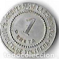 Monedas locales: S, HIPOLIT DE VOLTREGA ** COOPERATIVA LA ESPERANZA - 1 PESETA **. Lote 204550545