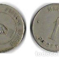 Monedas locales: MANLLEU **COOPERATIVA POPULAR OBRERA 1 PESETA**. Lote 204688675