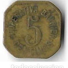 Monedas locales: LES MASIES DE VOLTREGA **COOPERATIVA BAURRIER 5 CENTIMOS. Lote 205006497