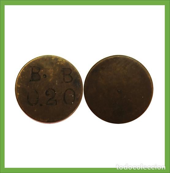 FICHA ANTIGUA A IDENTIFICAR B.B - 0,20 (Numismática - España Modernas y Contemporáneas - Locales y Fichas Dinerarias y Comerciales)