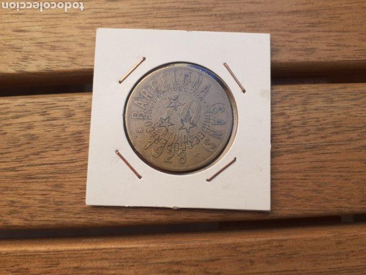 FICHA COOPERATIVA DE BARCELONA SANS 10CTS 1928 (Numismática - España Modernas y Contemporáneas - Locales y Fichas Dinerarias y Comerciales)