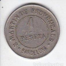 Monedas locales: FICHA DE 1 PESETA DE LA COOPERATIVA PAZ Y JUSTICIA DEL AÑO 1907 DE SAN MARTIN DE PROVENSALS (BCN). Lote 205397610