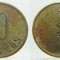 Monedas locales: FICHA DINERARIA VALOR 10 CENTIMOS 3 EN REVERSO 20 MM. Lote 205564275