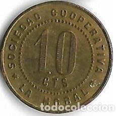 Monedas locales: BADALONA **COOPERATIVA LA MORAL 10 CTS. **. Lote 205567717
