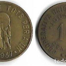 Monedas locales: IGUALADA -**COOPERATIVA UNIO DE COOPERADORS 10 CENTIMS **. Lote 205571873