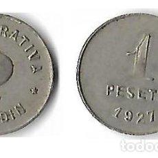 Monedas locales: COOPERATIVA EL JARDIN DE POBLE NOU-BARCELONA 1 PESETA. Lote 205574276