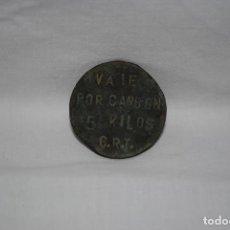 Monedas locales: CHAPA VALE POR CARBON. Lote 205577813