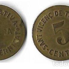 Monedas locales: SANT VICENÇ DE TORELLO **COOPERATIVA OBRERA LA FRATERNITAT 5 CENTIMS **. Lote 205663352
