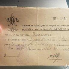 Monedas locales: COMITE DE AJUDA DE BUENOS AIRES A LES VICTIMES GUERRA CIVIL. Lote 206311158