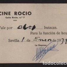 Monedas locales: SEVILLA, -CINE ROCIO- . VALE POR ....BUTACAS- ENERO 1939.- VER FOTO. Lote 206495458