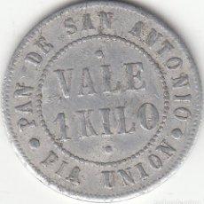 Monedas locales: FICHA: 1 KILO PAN DE SAN ANTONIO - PIA UNION - PARROQUIA SANTA MARIA - SAN SEBASTIAN. Lote 206896331
