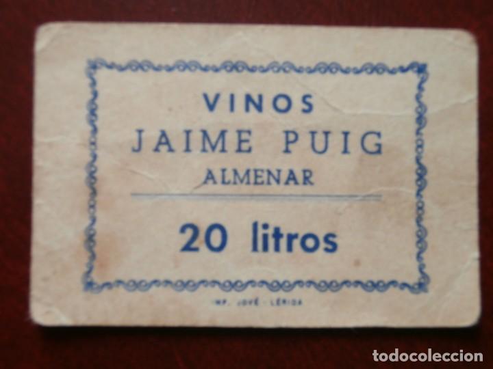 1 VALE BENEFICO - 20 LITROS - VINOS JAIME PUIG - ALMENAR - LLEIDA -. segunda mano