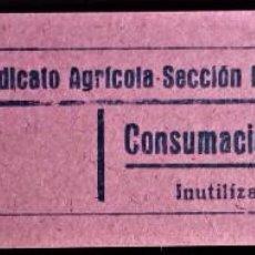 Monedas locales: VALE CUPÓN BRAFIM TARRAGONA CATALUÑA SINDICATO AGRÍCOLA SECCIÓN RECREATIVA CONSUMICIÓN 40 CTS. Lote 207535378