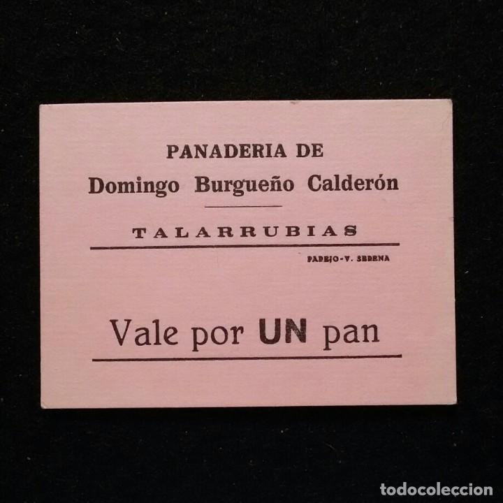 ANTIGUO VALE DE NECESIDAD UN PAN - PANADERIA DOMINGO BURGUEÑO TALARRUBIAS BADAJOZ (Numismática - España Modernas y Contemporáneas - Locales y Fichas Dinerarias y Comerciales)