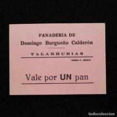 Monedas locales: ANTIGUO VALE DE NECESIDAD UN PAN - PANADERIA DOMINGO BURGUEÑO TALARRUBIAS BADAJOZ. Lote 207754551