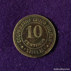 Monedas locales: FICHA COOPERATIVA CIVICO MILITAR.VITORIA.ALAVA.10 CENTIMOS.PUNTOS AL LADO DE ESTRELLA.AÑOS 30.MONEDA. Lote 207853081
