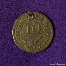 Monedas locales: FICHA COOPERATIVA CIVICO MILITAR.VITORIA.ALAVA.10 CENTIMOS.PUNTOS AL LADO DE ESTRELLA.AÑOS 30.MONEDA. Lote 175279888