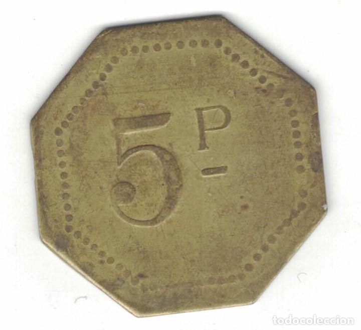 Monedas locales: Dos Fichas. 25 cent. Díam. 2,4 cm. Plateada y octogonal de 5 Ptas. F054 y F046 - Foto 2 - 185978546