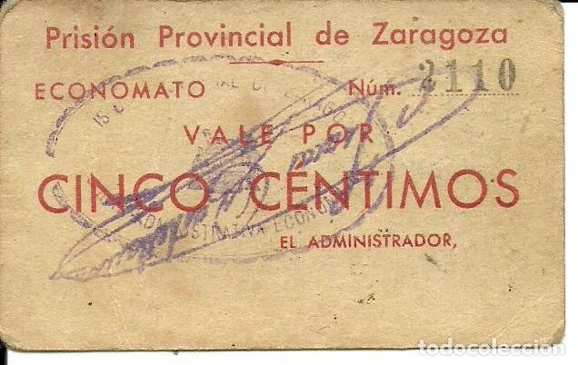 Monedas locales: (FC-288)VALE 5 CTS.PRISION PROVINCIAL DE ZARAGOZA - Foto 2 - 2409189
