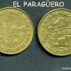 Monedas locales: JETON - FICHA - TOKEN - 1 TOKEN - AJ.CAMBLE AMUSEMENTS = A.J. JUEGOS DIVERTIDOS -( CABALLITO ) Nº15. Lote 209062630