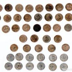 Monedas locales: 48 MONEDAS-FICHAS PRE GUERRA CIVIL ESPAÑOLA,COOPERATIVA OBRERA,CATOLICA Y DEL PAN,MANLLEU,CATALUNYA. Lote 209931015