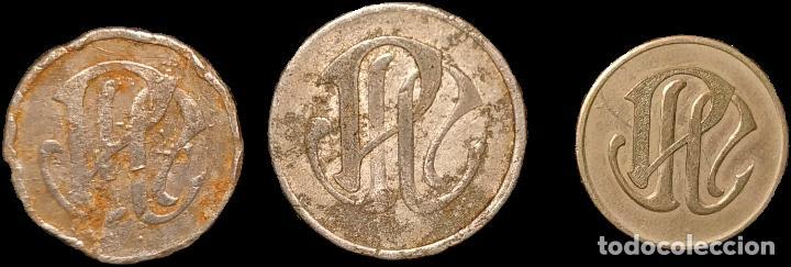 AL3122-24 FICHAS DE LA COLONIA PALÀ - PUIGREIG (5, 10 Y 50 CTS) (Numismática - España Modernas y Contemporáneas - Locales y Fichas Dinerarias y Comerciales)