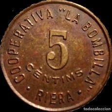 Monedas locales: AL NO CAT - COOPERATIVA LA BOMBILLA - RIERA - 5 CTS. Lote 210078496