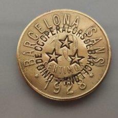 Monnaies locales: FICHA COOPERATIVA OBRERA SANS 10 CENTIMOS 1928 RESELLO UNIO COOPERADORS. Lote 210093000