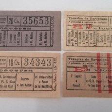 Monedas locales: BARCELONA. TRANVÍAS. LOTE 4 TIQUETS DISTINTOS PRECIOS. GUERRA CIVIL. ORTEGA CNT AIT. Lote 210270077