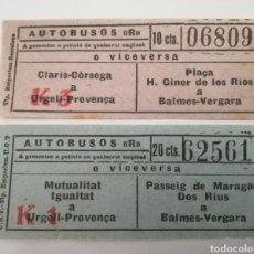 Monedas locales: BARCELONA. AUTOBUSES R. GUERRA CIVIL. 2 TICKETS.. Lote 210270281