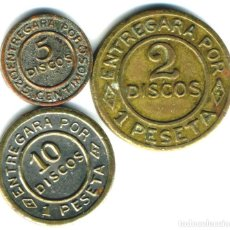 Monedas locales: XS- TALLERES NAVAL (SAN CARLOS, CÁDIZ) JUEGO COMPLETO FICHAS 2, 5 Y 10 DISCOS PARA PAGAR. Lote 210527932