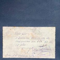 Monedas locales: VALE POR 1 BARRICA GOMAROS DE MAQUINA CON 110 KG. RAFAEL ORTEGA SALIDO. JEREZ. 1958. VER FOTOS.. Lote 210825529