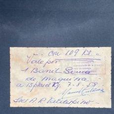 Monedas locales: VALE POR 1 BARRIL DE GOMAROS DE 94 KG RAFAEL ORTEGA SALIDO. JEREZ. 1958. VER FOTOS.. Lote 210825830