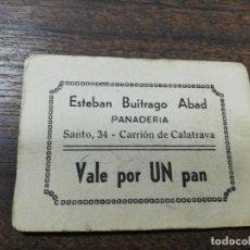 Monedas locales: VALE DE PAN. PANADERIA ESTEBAN BUITRAGO ABAD. CARRION DE CALATRAVA. VALE DE UN PAN.. Lote 211653794