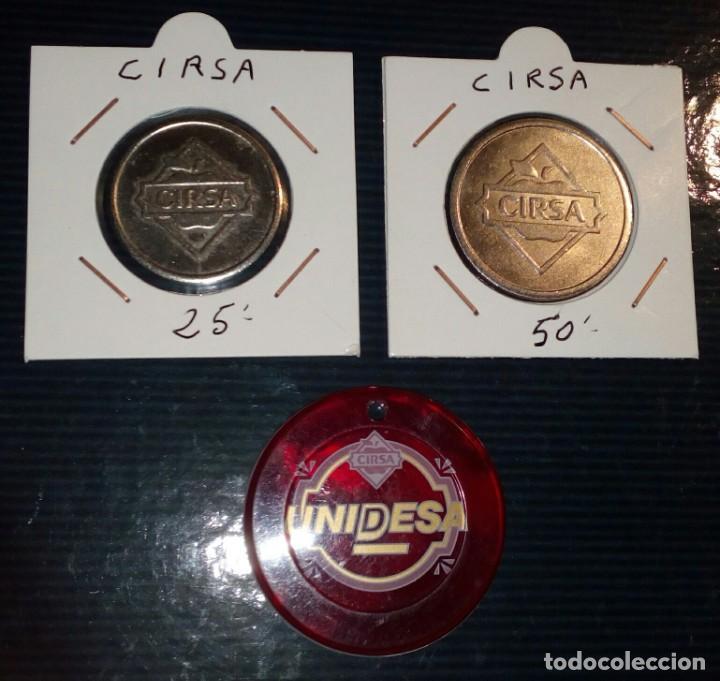 LOTE DE 3 FICHAS DE JUEGO UNIDESA - CIRSA (Numismática - España Modernas y Contemporáneas - Locales y Fichas Dinerarias y Comerciales)